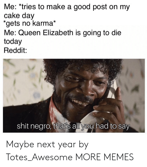 totes: Me: *tries to make a good post on my  cake day  gets no karma*  Me: Queen Elizabeth is going to die  today  Reddit:  shit negro, thats all you had to say Maybe next year by Totes_Awesome MORE MEMES