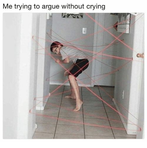 Arguing, Crying, and Funny: Me trying to argue without crying  Ci