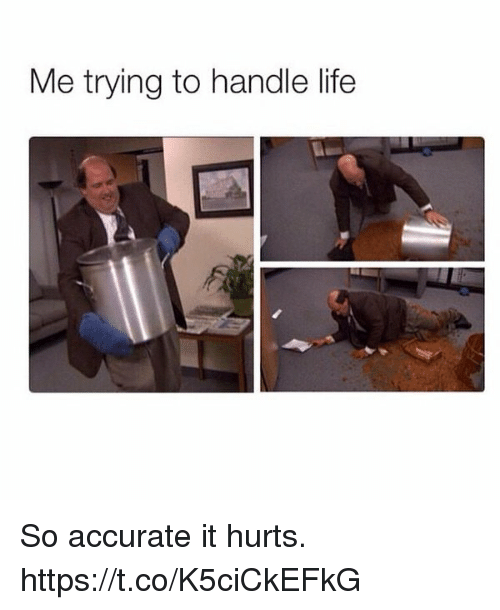 Life, Hurts, and Handle: Me trying to handle life So accurate it hurts. https://t.co/K5ciCkEFkG