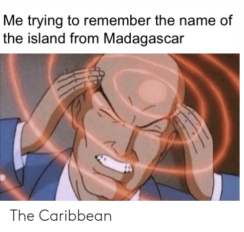 madagascar: Me trying to remember the name of  the island from Madagascar The Caribbean