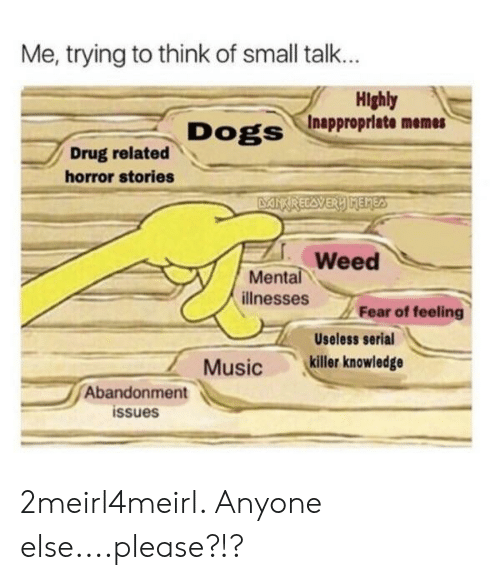 Inappropriate Memes: Me, trying to think of small talk...  Highly  Dogs /Inappropriate memes  Drug related  horror stories  Weed  Mental  illnesses  Fear of feeling  Useless serial  Musickiller knowledge  Abandonment  issues 2meirl4meirl. Anyone else....please?!?