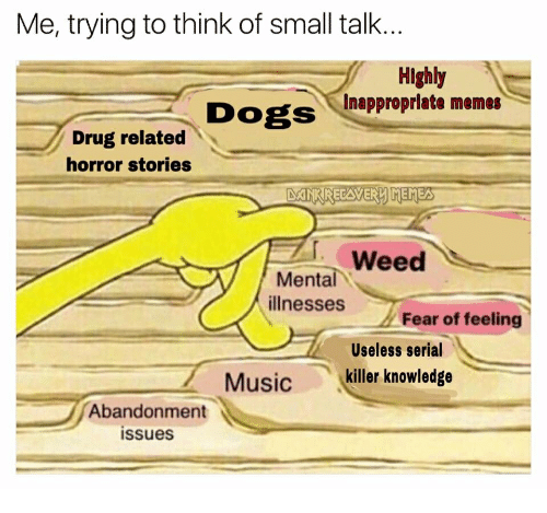 Inappropriate Memes: Me, trying to think of small talk..  Highly  Inappropriate memes  Drug related  horror stories  Weed  Mental  illnesses  Fear of feeling  Useless serial  Music killer knowledge  Abandonment  issues