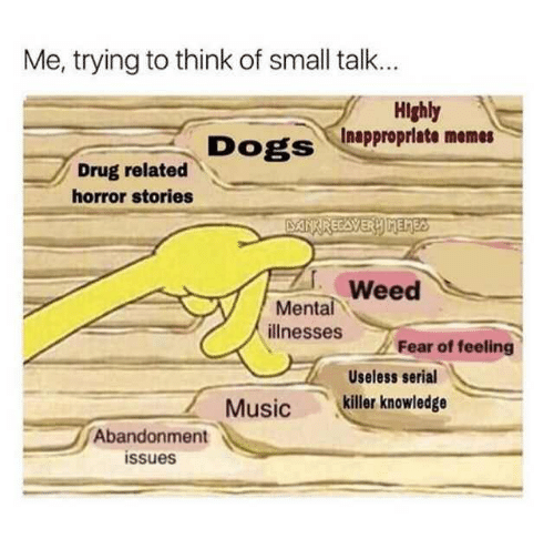 Inappropriate Memes: Me, trying to think of small talk..  Highly  Inappropriate memes  DogS  Drug related  horror stories  Weed  Mental  illnesses Fear of  Useless serial  Musickiller knowledge  Abandonment  issues