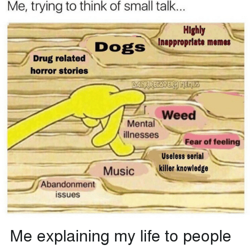 Inappropriate Memes: Me, trying to think of small talk...  Highly  Inappropriate memes  Drug related  horror stories  Weed  ее  Mental  illnesses  Fear of feeling  Useless serial  Music killer knowledge  Abandonment  issues Me explaining my life to people
