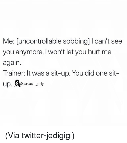 sit up: Me: [uncontrollable sobbing] I can't see  you anymore, Iwon't let you hurt me  again.  Trainer: It was a sit-up. You did one sit-  up. sarcasm_only (Via twitter-jedigigi)