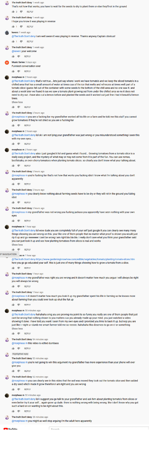"deny: me vs ""the truth don't deny"" on a you tube video. he just cant be wrong."