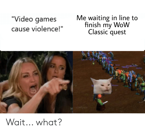 """Quest Video: Me waiting in line to  finish my WoW  Classic quest  """"Video games  cause violence!""""  Pes  Xifihs  Minion  u/nolyspe Wait... what?"""