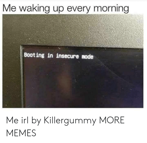 Dank, Memes, and Target: Me waking up every morning  Boot ing in insecure mode Me irl by Killergummy MORE MEMES