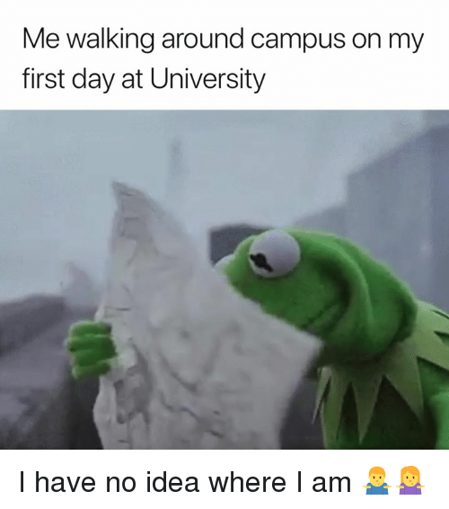 Idea, University, and Day: Me walking around campus on my  first day at University I have no idea where I am 🤷‍♂️🤷‍♀️