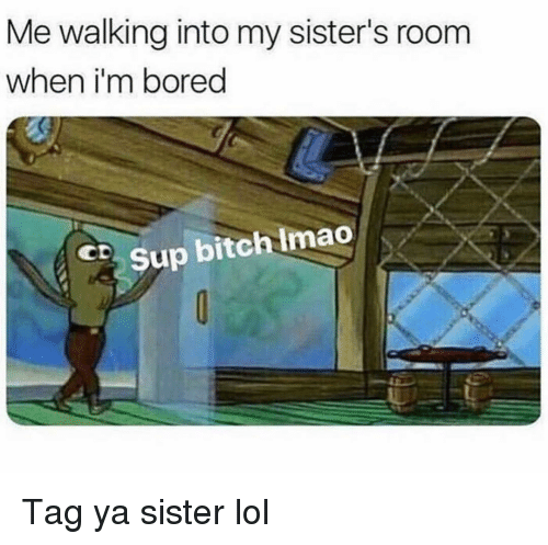 Bitch, Bored, and Funny: Me walking into my sister's room  when i'm bored  CSup bitch Imao Tag ya sister lol