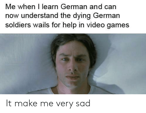 Learn: Me when I learn German and can  now understand the dying German  soldiers wails for help in video games It make me very sad
