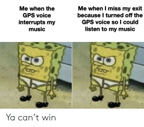 Music, Gps, and Voice: Me when I miss my exit  because I turned off the  GPS voice so I could  listen to my music  Me when the  GPS voice  interrupts my  music Ya can't win