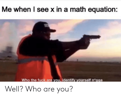 Equation: Me when I see x in a math equation:  Who the fuck are you, identify yourself n*gga Well? Who are you?