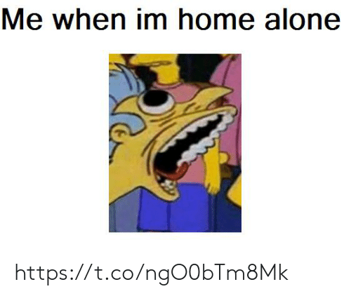 Being Alone, Home Alone, and Home: Me when im home alone https://t.co/ngO0bTm8Mk