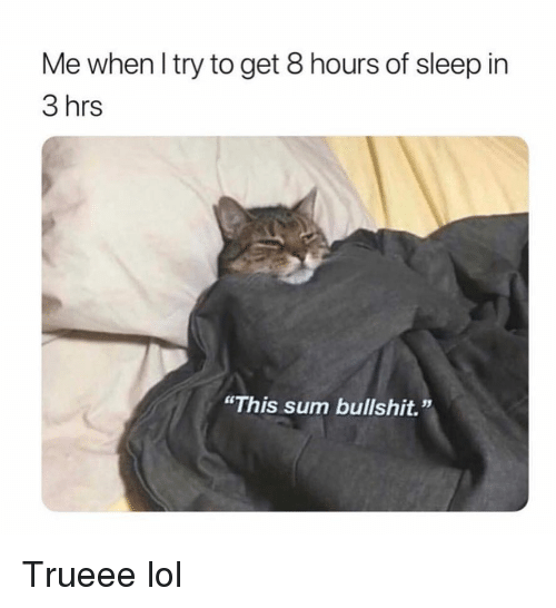 "Funny, Lol, and Bullshit: Me when l try to get 8 hours of sleep in  3 hrs  ""This sum bullshit."" Trueee lol"