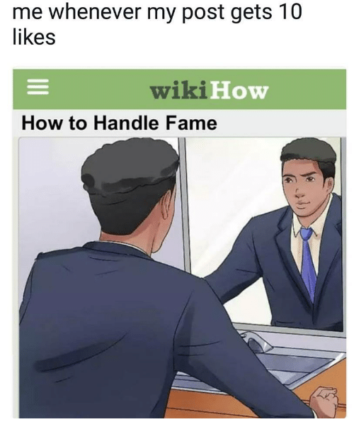 How To Handle Fame: me whenever my post gets 10  ikes  wikiHow  How to Handle Fame