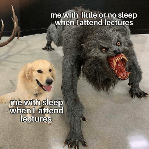 Attend: me with little or no sleep  when l attend lectures  me with sleep  whenl attend  lectures