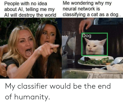Neural: Me wondering why my  People with no idea  about Al, telling me my  Al will destroy the world  neural network is  classifying a cat as a dog...  Dog My classifier would be the end of humanity.
