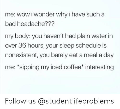 Sipping: me: wow i wonder why i have such a  bad headache???  my body: you haven't had plain water in  over 36 hours, your sleep schedule is  nonexistent, you barely eat a meal a day  me: *sipping my iced coffee* interesting Follow us @studentlifeproblems