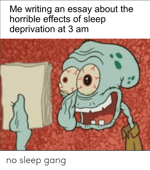 Writing An Essay: Me writing an essay about the  horrible effects of sleep  deprivation at 3 am no sleep gang