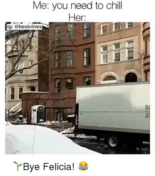bye felicia: Me: you need to chill  Her:  ig: a bestvines ⠀ 🌱Bye Felicia! 😂