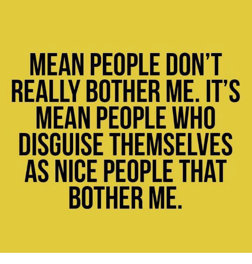 Botherers: MEAN PEOPLE DON'T  REALLY BOTHER ME. IT'S  MEAN PEOPLE WHO  DISGUISE THEMSELVES  AS NICE PEOPLE THAT  BOTHER ME