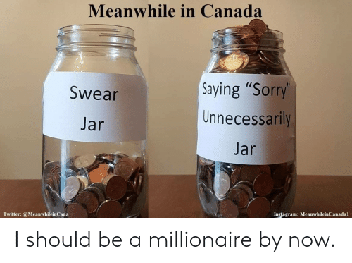 "Instagram, Sorry, and Twitter: Meanwhile in Canada  Saying ""Sorry'  Unnecessarily  Swear  Jar  Jar  Instagram: MeanwhileinCanadal  Twitter:@MeanwhileinCana I should be a millionaire by now."