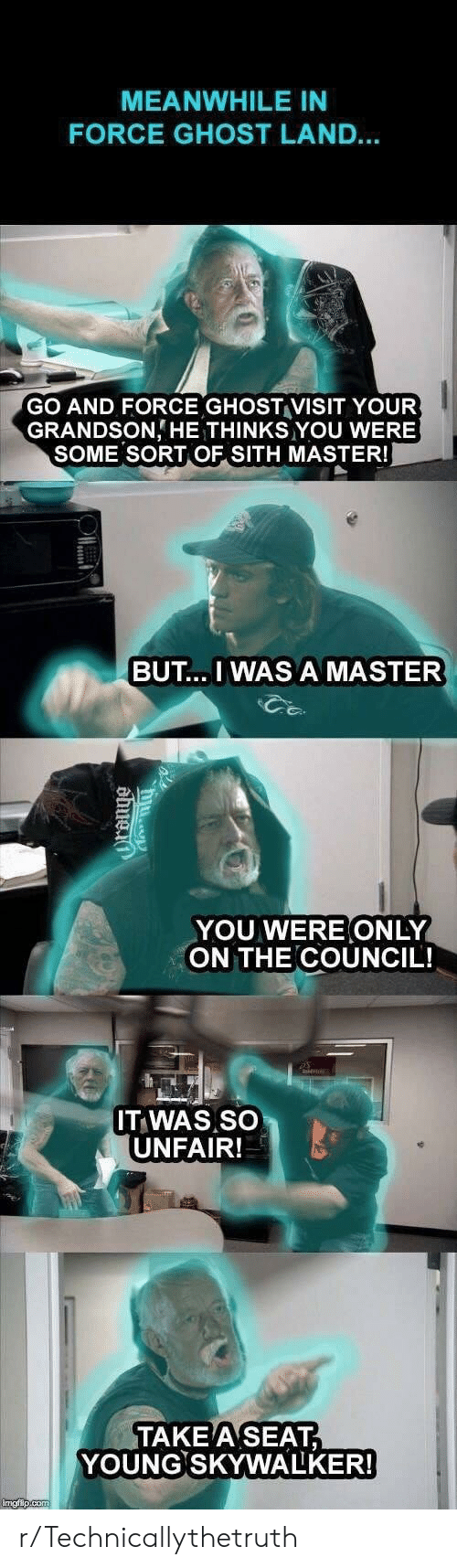 Take A Seat: MEANWHILE IN  FORCE GHOST LAND...  GO AND FORCE GHOST VISIT YOUR  GRANDSON HE THINKS YOU WERE  SOME SORT OF SITH MASTER!  BUT.. I WAS A MASTER  YOU WERE ONLY  ON THE COUNCIL!  IT WAS SO  UNFAIR!  TAKE A SEAT  YOUNG SKYWALKER!  imgip.co r/Technicallythetruth
