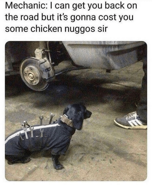 Chicken, Mechanic, and On the Road: Mechanic: I can get you back on  the road but it's gonna cost you  some chicken nuggos sir
