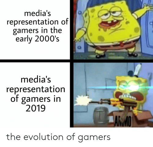 early 2000s: media's  representation of|  gamers in the  early 2000's  media's  representation  of gamers in  2019  ARMO the evolution of gamers