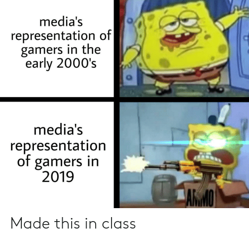 2000s: media's  representation of  gamers in the  early 2000's  media's  representation  of gamers in  2019  AКМО Made this in class