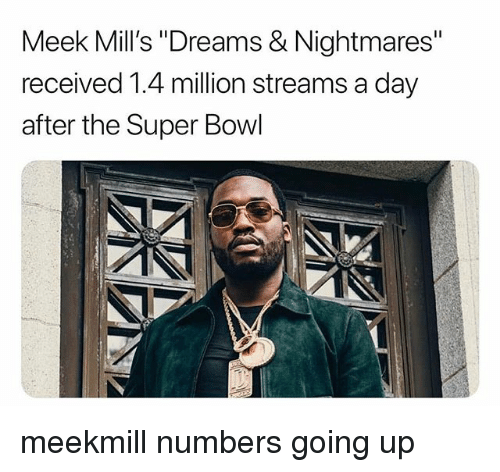 "Memes, Super Bowl, and Dreams: Meek Mill's ""Dreams & Nightmares""  received 1.4 million streams a day  after the Super Bowl meekmill numbers going up"