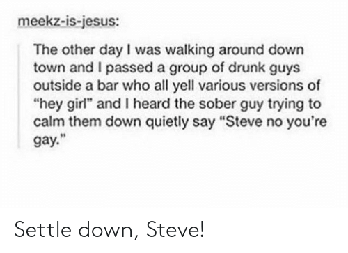 """I Passed: meekz-is-jesus:  The other day I was walking around down  town and I passed a group of drunk guys  outside a bar who all yell various versions of  """"hey girl"""" and I heard the sober guy trying to  calm them down quietly say """"Steve no you're  gay."""" Settle down, Steve!"""