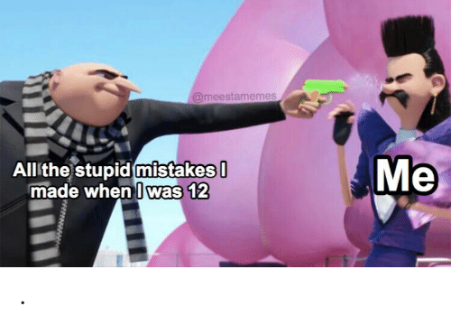 The Stupid: @meestamemes  Мe  All the stupid mistakes  made when I was 12 .
