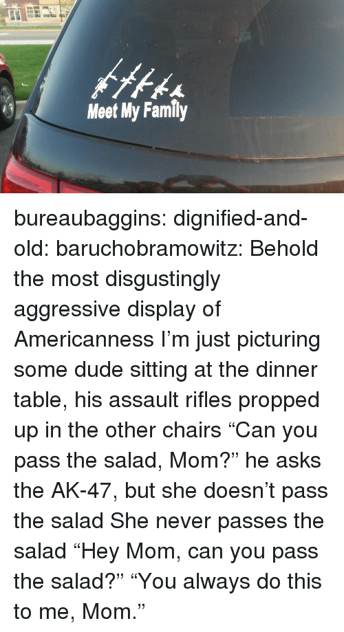 "Americanness: Meet My Family bureaubaggins:  dignified-and-old:  baruchobramowitz:  Behold the most disgustingly aggressive display of Americanness  I'm just picturing some dude sitting at the dinner table, his assault rifles propped up in the other chairs ""Can you pass the salad, Mom?"" he asks the AK-47, but she doesn't pass the salad She never passes the salad  ""Hey Mom, can you pass the salad?""      ""You always do this to me, Mom."""