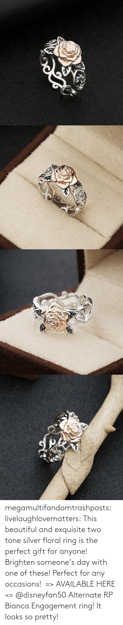 Silver: megamultifandomtrashposts:  livelaughlovematters: This beautiful and exquisite two tone silver floral ring is the perfect gift for anyone! Brighten someone's day with one of these! Perfect for any occasions!  => AVAILABLE HERE <=    @disneyfan50 Alternate RP Bianca Engagement ring! It looks so pretty!