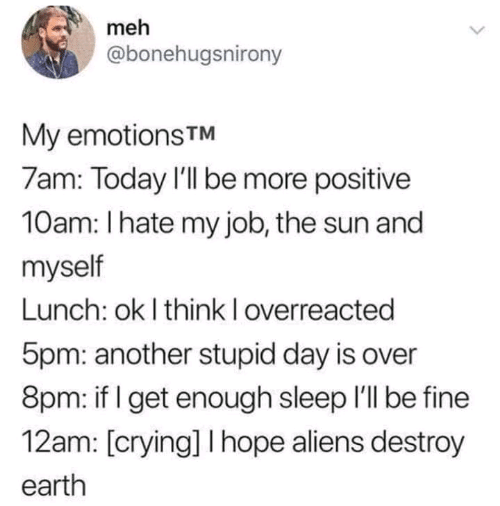 Crying, Meh, and Aliens: meh  @bonehugsnirony  My emotions TM  7am: Today I'll be more positive  10am: I hate my job, the sun and  myself  Lunch: ok I think I overreacted  5pm: another stupid day is over  8pm: if I get enough sleep I'll be fine  12am: [crying] I hope aliens destroy  earth