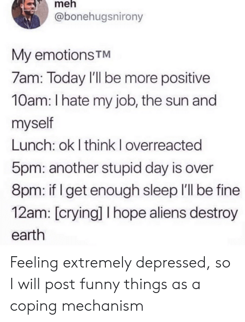 Aliens: meh  @bonehugsnirony  My emotions TM  7am: Today I'll be more positive  10am: I hate my job, the sun and  myself  Lunch: ok I think I overreacted  5pm: another stupid day is over  8pm: if I get enough sleep I'll be fine  12am: [crying] I hope aliens destroy  earth Feeling extremely depressed, so I will post funny things as a coping mechanism