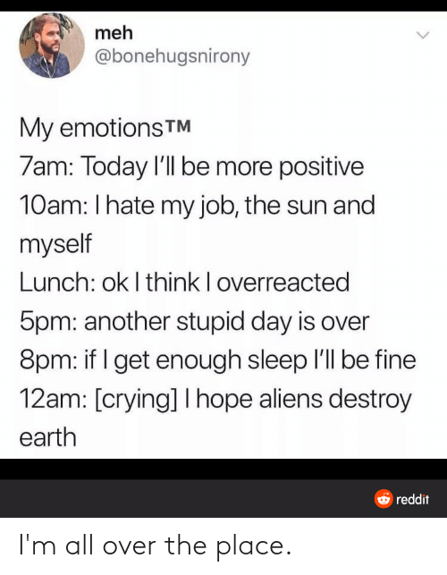 i hate my job: meh  @bonehugsnirony  My emotionsTM  7am: Today l'll be more positive  10am: I hate my job, the sun and  myself  Lunch: ok I think I overreacted  5pm: another stupid day is over  8pm: if I get enough sleep l'll be fine  12am: [crying] I hope aliens destroy  earth  O reddit I'm all over the place.