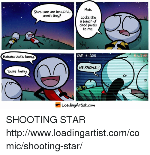Shootting Star: Meh.  Stars sure are beautiful,  aren't they?  Looks like  a bunch of  dead pixels  to me.  CAM #402S  Hahaha that's funny  HE KNOWS..!  You're funny.  LoadingArtist.com  O) SHOOTING STAR http://www.loadingartist.com/comic/shooting-star/