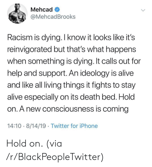 Alive, Blackpeopletwitter, and Iphone: Mehcad  @MehcadBrooks  Racism is dying. I know it looks like it's  reinvigorated but that's what happens  when something is dying. It calls out for  help and support. An ideology is alive  and like all living things it fights to stay  alive especially on its death bed. Hold  on. A new consciousness is coming  14:10 8/14/19 Twitter for iPhone Hold on. (via /r/BlackPeopleTwitter)
