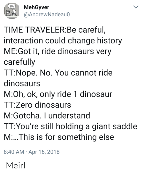 Nope: MehGyver  @AndrewNadeau0  Pens!  TIME TRAVELER:Be careful,  interaction could change history  ME:Got it, ride dinosaurs very  carefully  TT:Nope. No. You cannot ride  dinosaurs  M:Oh, ok, only ride 1 dinosaur  TT:Zero dinosaurs  M:Gotcha. I understand  TT:You're still holding a giant saddle  M:..This is for something else  8:40 AM · Apr 16, 2018 Meirl