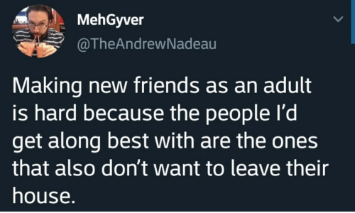 Friends, Best, and House: MehGyver  @TheAndrewNadeau  Making new friends as an adult  is hard because the people I'd  get along best with are the ones  that also don't want to leave their  house.
