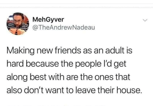 want: MehGyver  @TheAndrewNadeau  Making new friends as an adult is  hard because the people l'd get  along best with are the ones that  also don't want to leave their house.