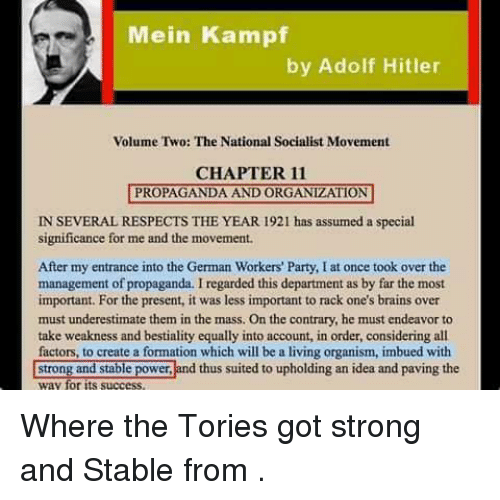 mein kampf and the formation of hitlers By 1925, 35-year-old adolf hitler was already a war veteran, leader of a political party, orchestrator of a failed coup, and a prisoner in a german prison in july 1925, he also became a published book author with the release of the first volume of his work, mein kampf (my struggle.