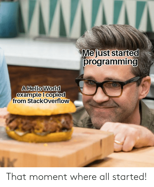that moment: Mejust started  programming  AHello World  example I copied  from StackOverflow That moment where all started!