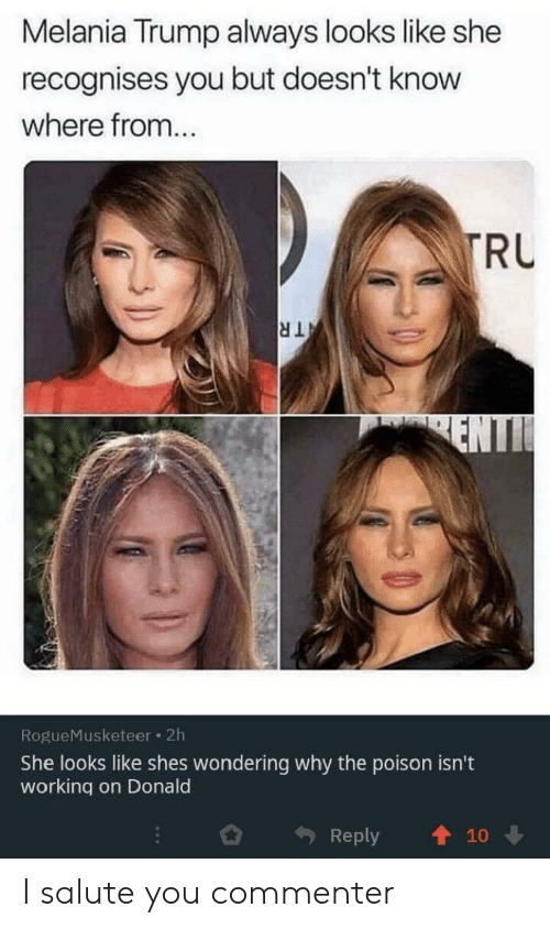 Melania Trump: Melania Trump always looks like she  recognises you but doesn't know  where from...  TRU  TR  ENTI  RogueMusketeer 2h  She looks like shes wondering why the poison isn't  working on Donald  Reply  10 I salute you commenter