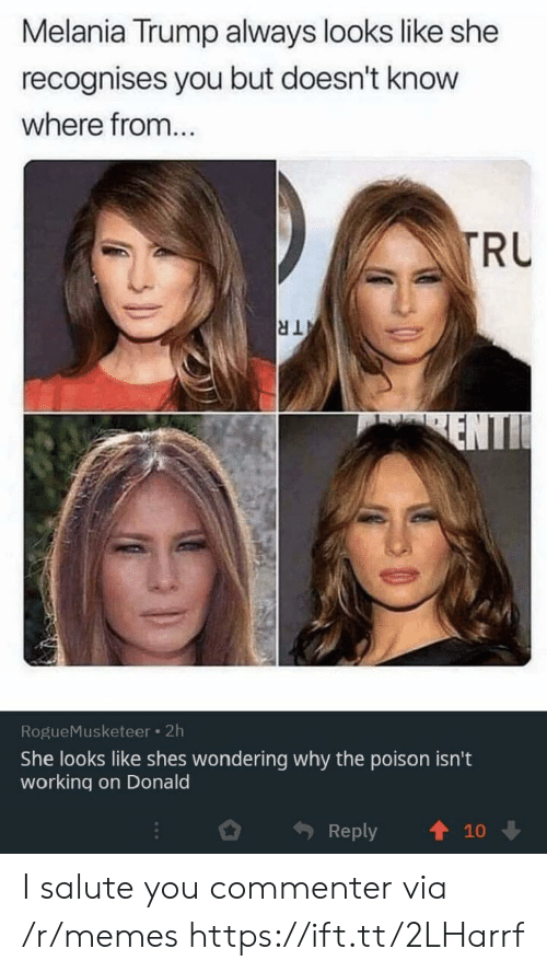 Salute: Melania Trump always looks like she  recognises you but doesn't know  where from...  TRU  TR  ENTI  RogueMusketeer 2h  She looks like shes wondering why the poison isn't  working on Donald  Reply  10 I salute you commenter via /r/memes https://ift.tt/2LHarrf