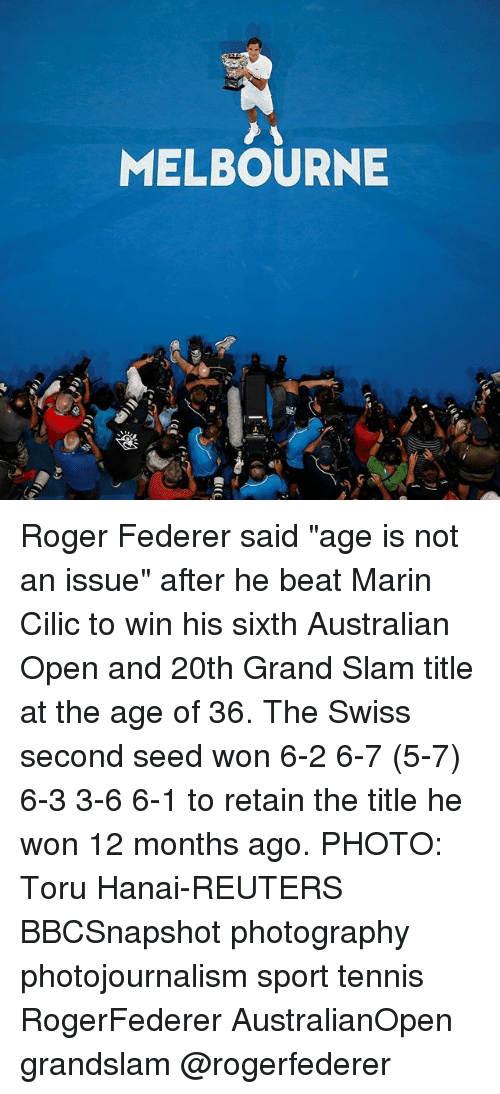 """federer: MELBOURNE Roger Federer said """"age is not an issue"""" after he beat Marin Cilic to win his sixth Australian Open and 20th Grand Slam title at the age of 36. The Swiss second seed won 6-2 6-7 (5-7) 6-3 3-6 6-1 to retain the title he won 12 months ago. PHOTO: Toru Hanai-REUTERS BBCSnapshot photography photojournalism sport tennis RogerFederer AustralianOpen grandslam @rogerfederer"""