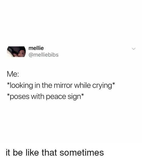 """Be Like, Crying, and Mirror: mellie  @melliebibs  Me:  """"looking in the mirror while crying*  """"poses with peace sign* it be like that sometimes"""